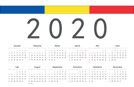 Simple rectangular Romanian 2020 year vector calendar. Week starts from Sunday.