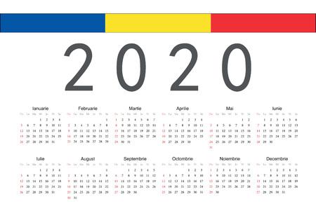 Simple rectangular Romanian 2020 year vector calendar. Week starts from Sunday.