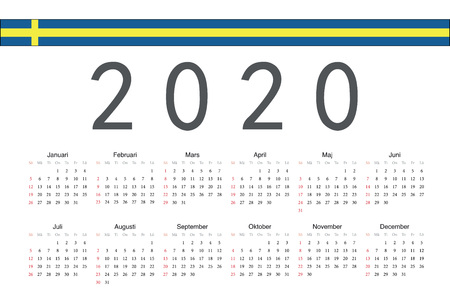 Simple rectangular Swedish 2020 year vector calendar. Week starts from Sunday.