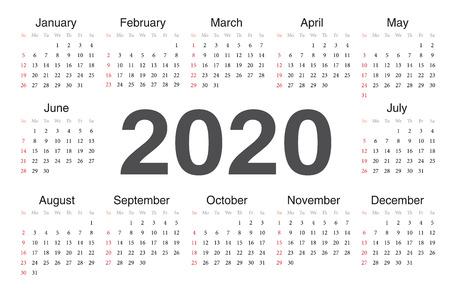 Vector circle calendar 2020. Week starts from Sunday. Vector Illustration