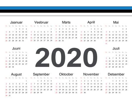 Vector Estonian circle calendar 2020. Week starts from Sunday.