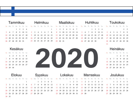 Vector Finnish circle calendar 2020. Week starts from Sunday.  イラスト・ベクター素材
