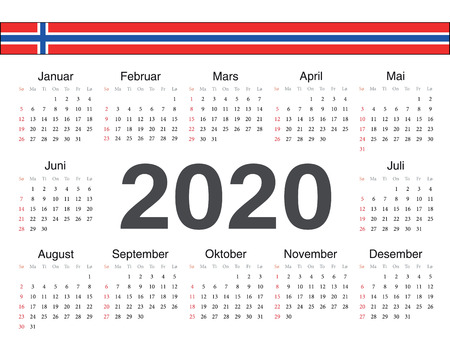 Vector Norwegian circle calendar 2020. Week starts from Sunday.