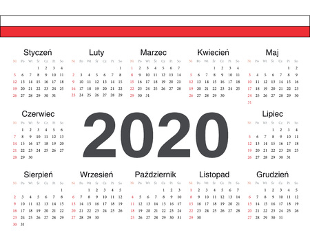 Vector Polish circle calendar 2020. Week starts from Sunday. Ilustrace