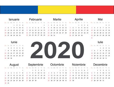 Calendario de círculo rumano de vector 2020. La semana comienza en domingo. Ilustración de vector