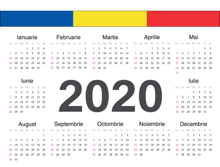 Vector Romanian circle calendar 2020. Week starts from Sunday.