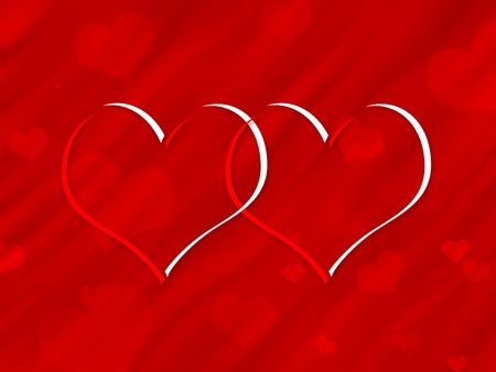 Digitally created hearts ona a valentine background
