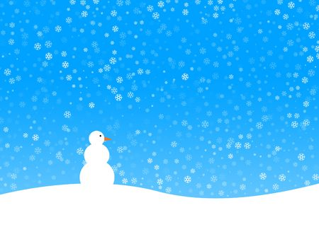 Winter background with many snowflakes and snowman photo