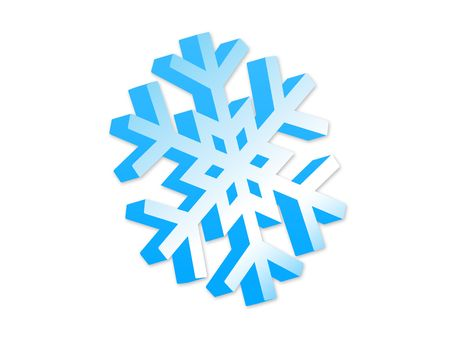 Isolated 3d blue snowflake. Illustration with clipping path Stock Illustration - 2037455