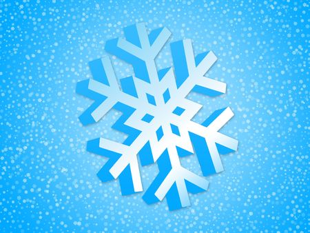 Winter background with 3d snowflake Stock Photo - 2037450