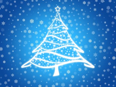 Abstract winter background with christmas tree and snowflakes Stock Photo - 2037449