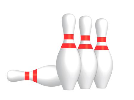 skittles: 3D render of bowling skittles on a white background