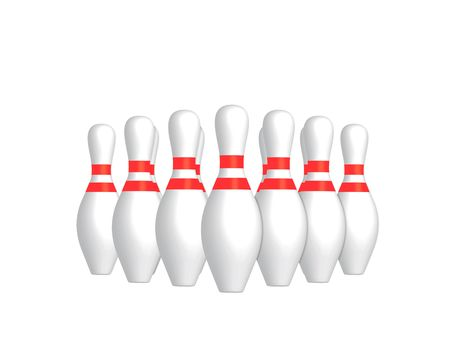 3D render of bowling skittles on a white background photo
