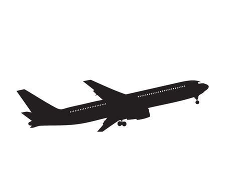 liftoff: silhouette passenger airplane