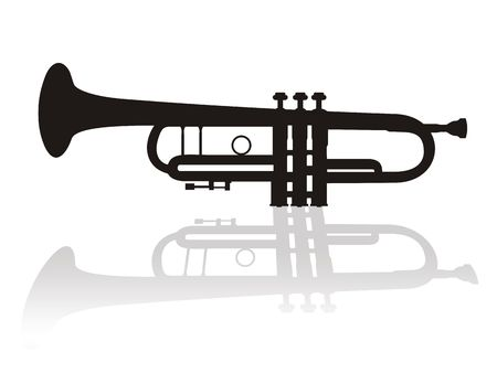 trumpet vector: Illustration of trumpet with shadow