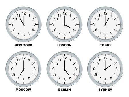 ny: Analog clocks isolated on a white background