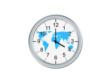 Isolated analog clock whit world map, on a white background photo