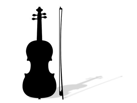 Illustration of violin with shadow Stock Photo