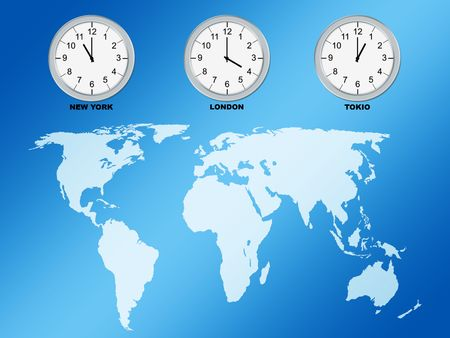 World map and clocks, computer generated photo