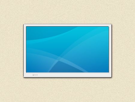 LCD TV screen on a wall Stock Photo - 2205348