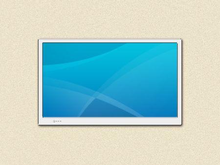 televisor: LCD TV screen on a wall Stock Photo