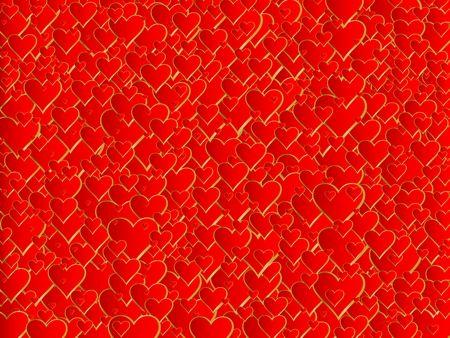 Illustration many hearts, Valentines background.