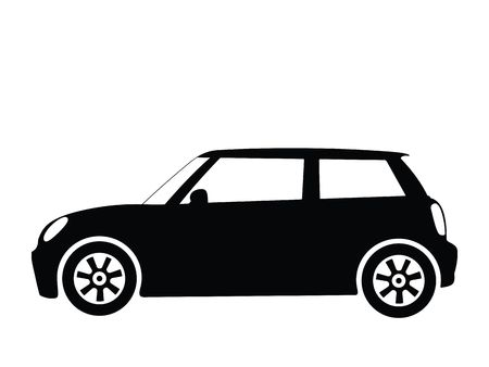 mini: Silhouette small car, illustration Stock Photo