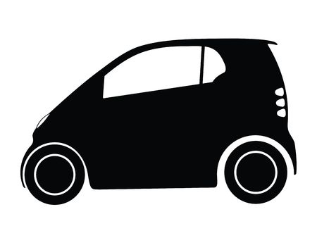 mini car: Silhouette small car, illustration Stock Photo
