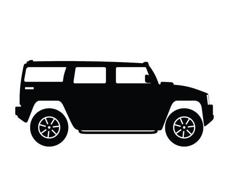 hummer: Silhouette big car, illustration