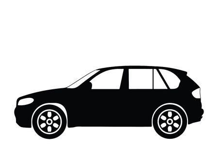 offroad car: Silhouette big car, illustration