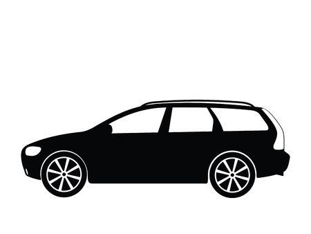 combi: Silhouette a car, illustration
