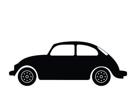escarabajo: Silueta autom�vil viejo, ilustraci�n