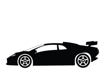 Silhouette a sport car, illustration
