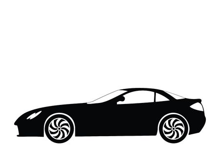 vector tyre: Silhouette a sport car, illustration