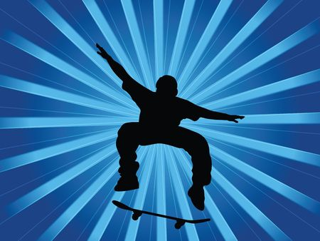 Silhouette skater on a abstract background photo