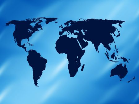 country side: world map on a blue background