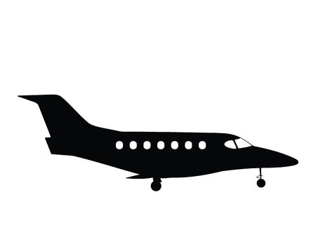 Silhouette small airplane, vector illustration Stock Illustration - 2682566