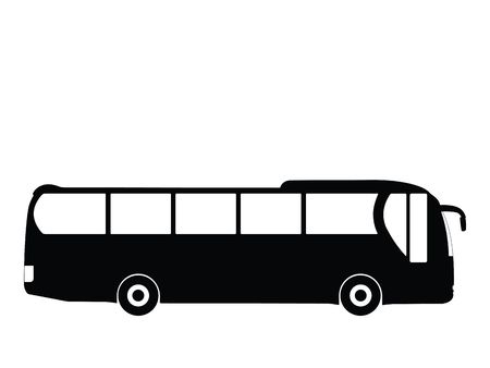 drive ticket: Silhouette big bus, vector illustration