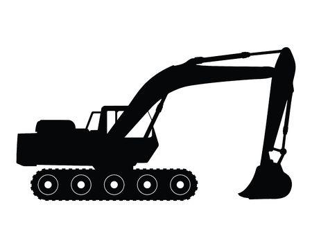 digging: Silhouette big excavator, vector illustration Stock Photo