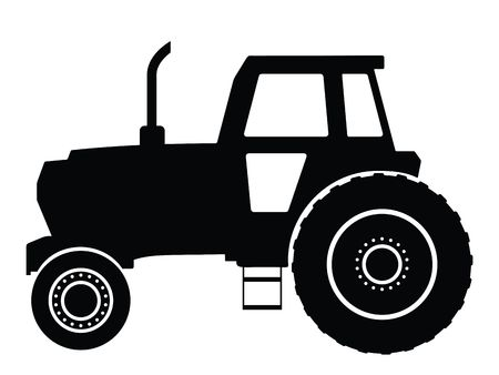 Silhouette a tractor, vector illustration Stock Illustration - 2681526