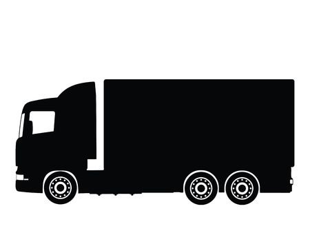 Silhouette big truck, vector illustration illustration