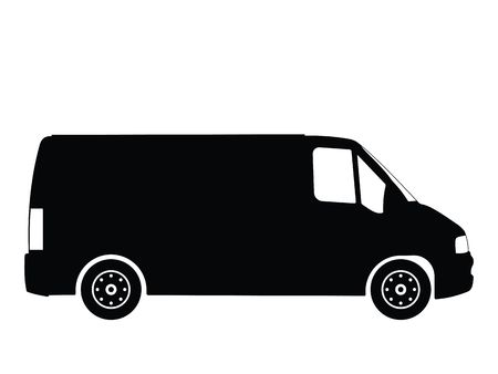 Silhouette small truck, vector illustration Stock Photo