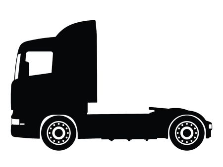 trucker: Silhouette big truck, vector illustration Stock Photo