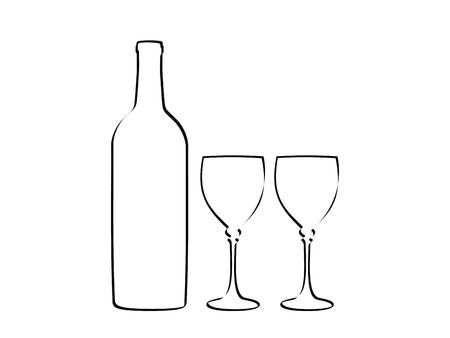 black outline: Contuor wine bottle, and two wine glasses.
