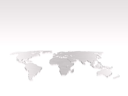 Isolated silver 3d world map photo
