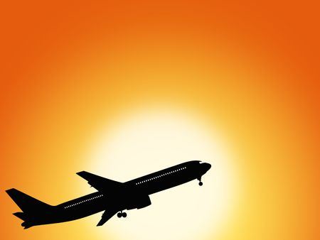 Large airplane flying during sunset photo