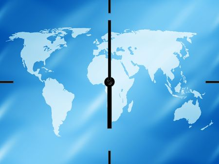 World map clock on a blue background Stock Photo - 2757538