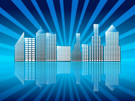 Illustration eines städtischen Ansicht mit Reflexion