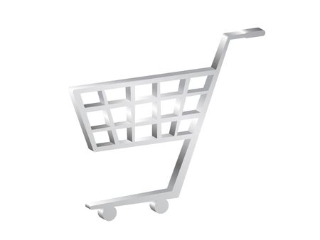Silver 3d shopping cart symbol photo