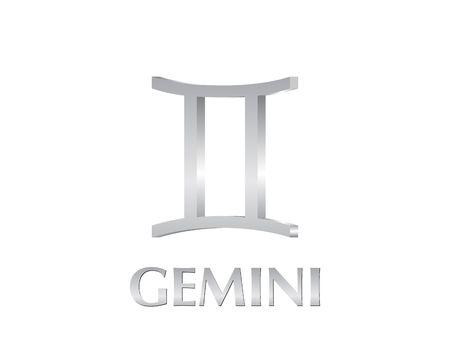 Astrological symbol of sign gemini 3d photo